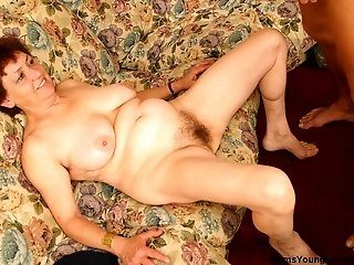 XXX action with big-titted fat mature whore