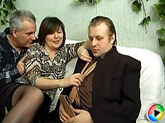 Chubby houswife fucked in all positions by two strangers