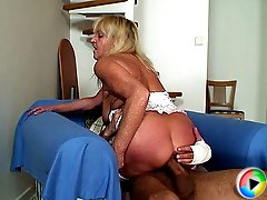 His old and wrinkled mother in law is sitting on his cock and her pussy is filled to the brim